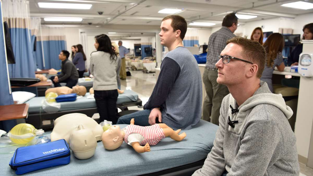 Students in a simulation lab